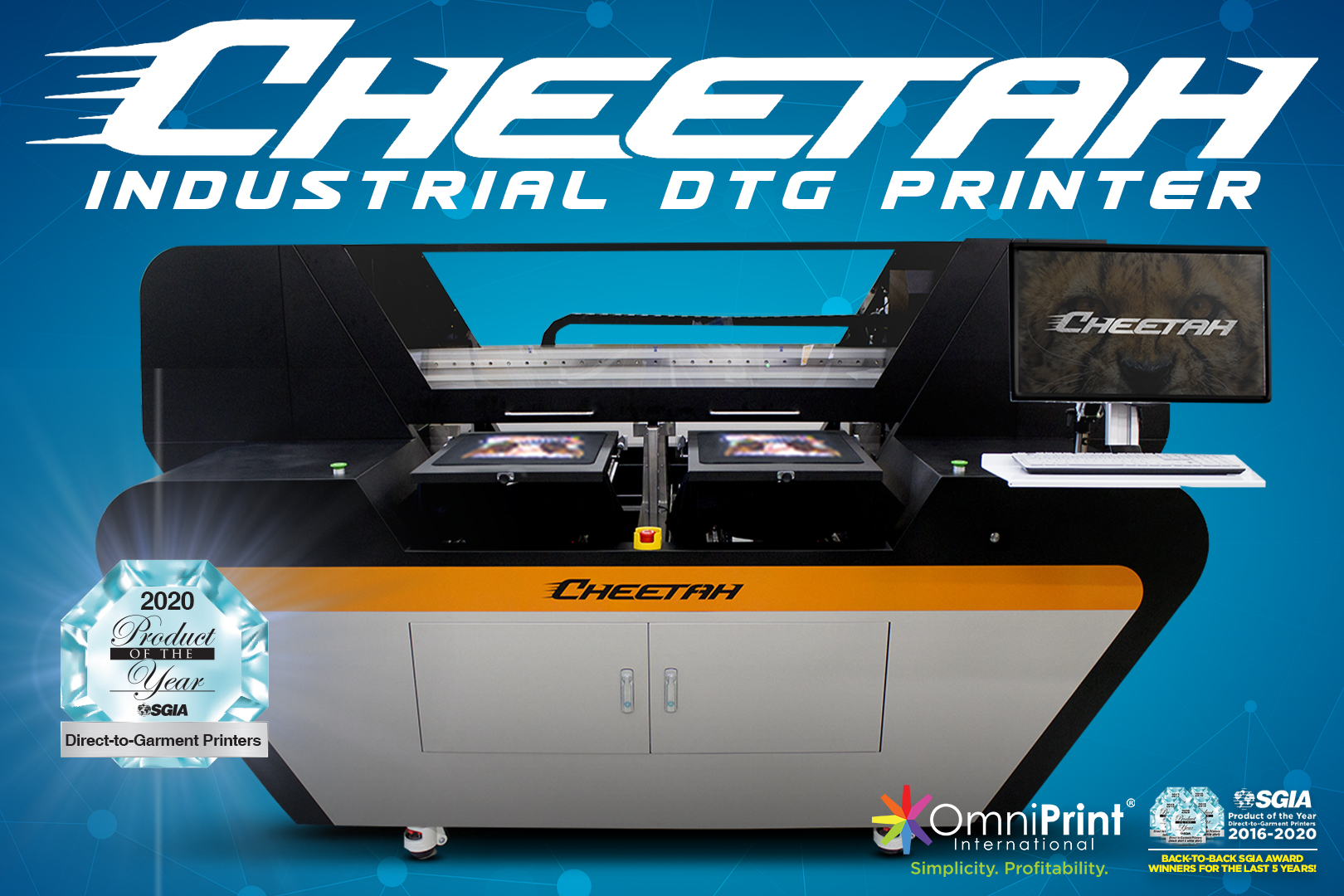 Cheetah Industrial DTG Printer - Product of the Year 2020, OmniPrint International